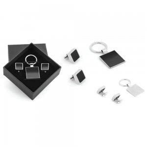 5501 Kutulu Metal Anahtarlık Kol Düğmeli Set